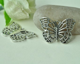 12pcs Antique Silver Lovely Butterfly Charms 26x18mm K449