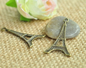 15pcs Antique Bronze Large Flat Eiffel Tower Charms 35x18mm MM310
