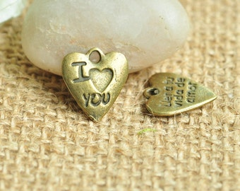 15pcs Antique Bronze I Love You Letter Heart Love Charms 14x13mm MM388