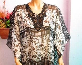 Black White Flowery Printed Chiffon Caftan With Lace,Beach Tunic Swimsuit Cover Up Swimwear Shawl ,Turkish Caftan,Pareo