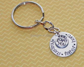 Hand Stamped 'husband.father.hero.' Keychain