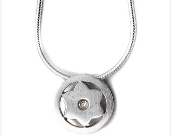 Sterling Silver Star Of David Round Necklace
