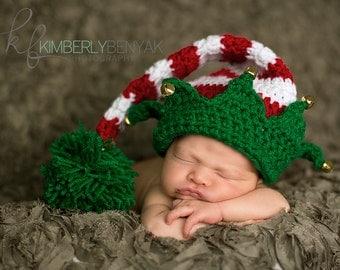 Ready to Ship Christmas Holiday Jingle Bell Elf Hat Newborn Baby Crochet