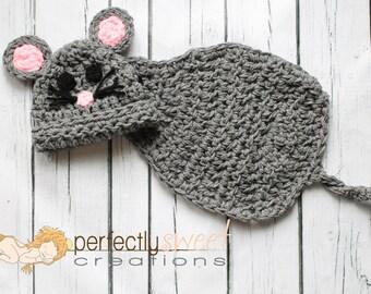 Ready To Ship Newborn Baby Mouse Hat & Cape Set Crochet Photo Prop