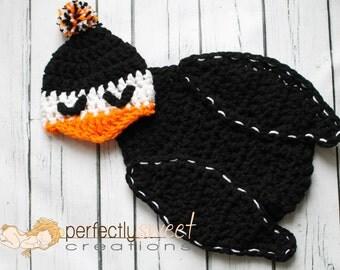 Ready To Ship Newborn Baby Penguin Hat & Cape Set Crochet Photo Prop