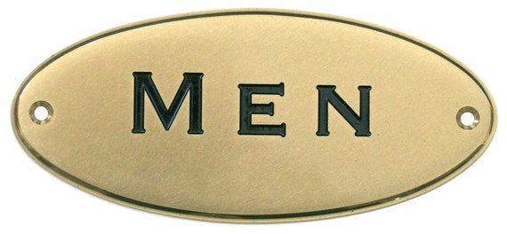 "Solid Brass Signs Engraved Door Plate Restroom ""Men"" Sign"
