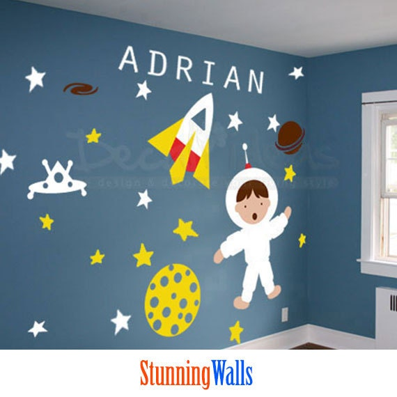 Outer space nursery planets wall decals space wall decal for Wall decor outer space