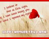 Mothers Day Printable Card, A4 sized, Red, Digital download