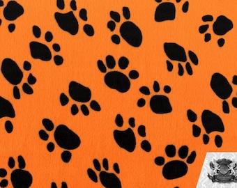 Paw Print Orange Velboa Fabric Sold by the Yard