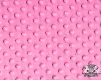 "Minky DIMPLE DOT Pink Fabric / 58"" Wide / Sold By the yard"