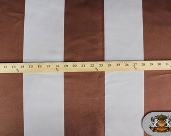 "Suede STRIPE Brown and Silver Fabric / 60"" Wide / Sold by The Yard"
