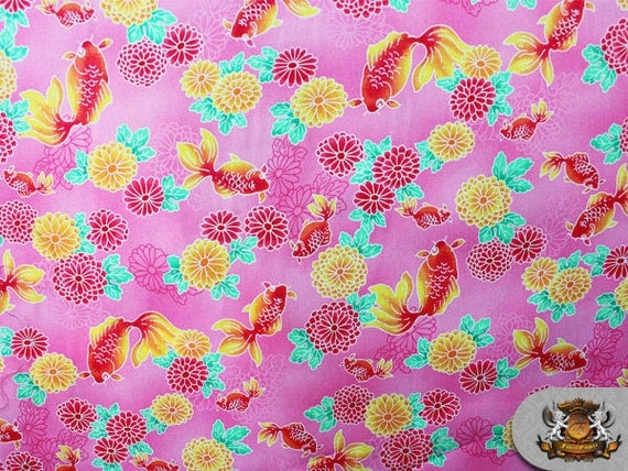 100 cotton print fabric notions in paradise koi by for Koi fish print fabric