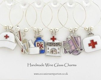 Medical Wine Glass Charms - Nurse Gift - Doctor Present