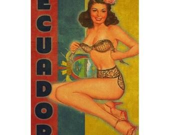 ECUADOR 1PS- Handmade Leather Journal / Sketchbook - Travel Art