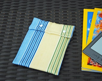 Kindle Case (Blue Yellow Candy Stripes)