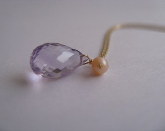 Lilac Amethyst and Peach Pearl Necklace