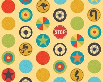 SALE!! - Fat Quarter Peak Hour Stop Yellow Cotton Quilt Fabric - by Kellie Wulfsohn - Riley Blake (W41)