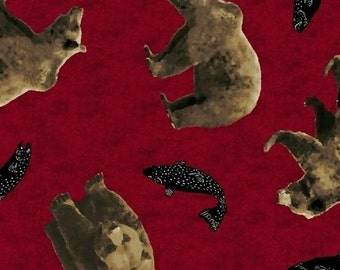 SALE!! - Fat Quarter Cabin Fever - Red Tossed Bears Cotton Quilt Fabric - Windham Fabrics (W111)