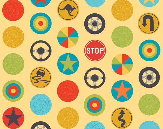 SUPER CLEARANCE! One Yard Peak Hour - Stop Signs in Yellow - Stop Sign Cotton Quilt Fabric - by Kellie Wulfsohn - Riley Blake - C2831 (W41)