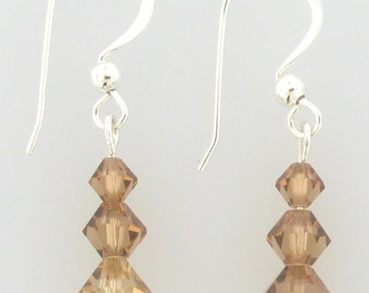 Swarovski Crystal Beaded Earrings with sterling silver ear wires