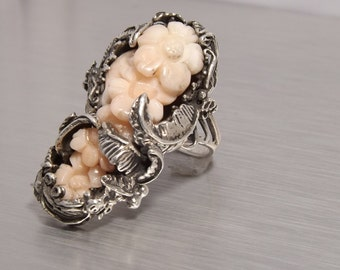 Ring Angel Skin Coral Sterling Silver