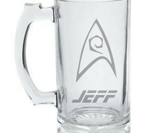 Star Trek Engineering Mug - Personalized Star Trek Mug - DEEP ETCHED Glass Star Trek Beer Mug