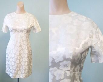 Vintage 1960's White Embossed Satin Dress Sz Small