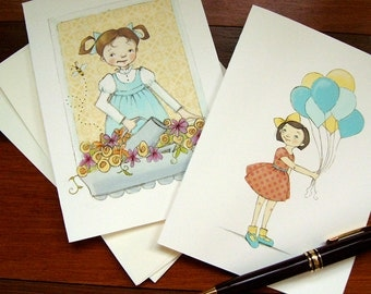 Assorted Notecards - Hello and Balloons - Children's Illustration, set of 8