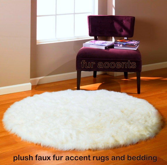 NEW Faux Fur ROUND Rug / Fine Shaggy Warm By
