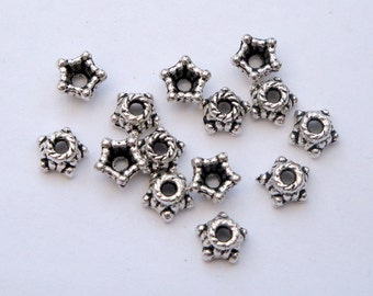 Silver bead caps 4mm, 100x antique silver beadcaps, pack of 100 BCS015