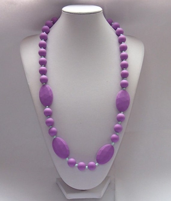 Purple silicone teething necklace for mom to wear by for When can babies wear jewelry