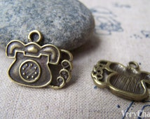 10 pcs of Antique Bronze Lovely Telephone Charms 14x22mm A1880