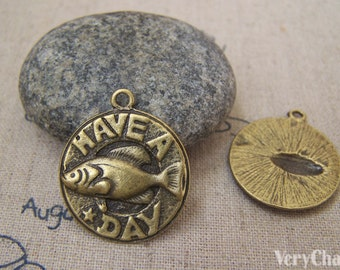 10 pcs of Antique Bronze Fish Dish Charms 23mm A5244