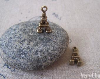 20 pcs of Antique Bronze 3D Eiffel Tower Charms 8x15mm A3953