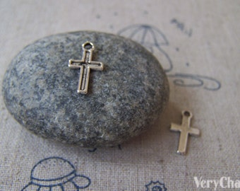 50 pcs of Antique Silver Cross Charms  7x11mm A4311