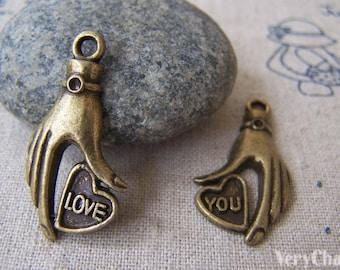 5 sets (10 pcs) of Antique Bronze Heart Hand Charms Pendants 15x30mm A577