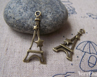 20 pcs of Antique Bronze Filigree Star Eiffel Tower Charms 13x30mm A1657
