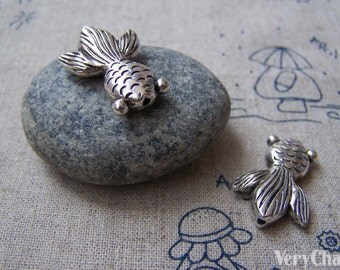 Fish Beads Antique Silver Goldfish Charms 17x24mm Set of 10 pcs A2748