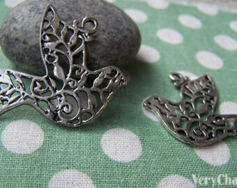 Filigree Branch Dove Antique Silver Swirl Peace Bird Pigeon Charms Pendants  31x37mm Set of 10 A826