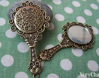 2 pcs Antique Bronze Fancy Victorian Hand Mirror Pendant 35x68mm A1782