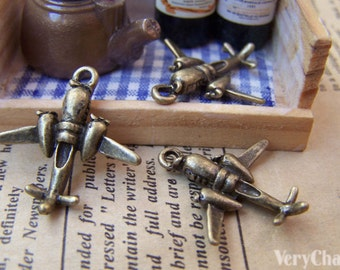 10 pcs of Antique Bronze Lovely Fighter Plane Charms 23mm A945