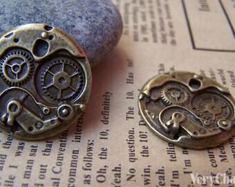 10 pcs of Antique Bronze Mechanical Watch Clock Pendants  25mm A1448