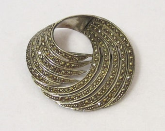 Antique vintage Art Nouveau Sterling silver Marcasite  pin/brooch
