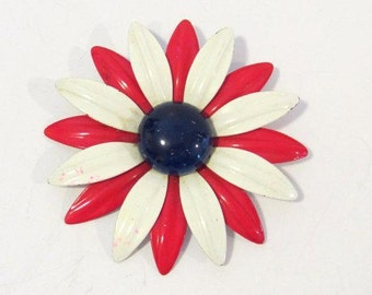 Vintage jewelry Blue,White & Red enamel Flower pin/brooch