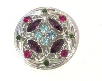 Vintage costume jewelry rhinestones signed Sarah Cov pin/brooch