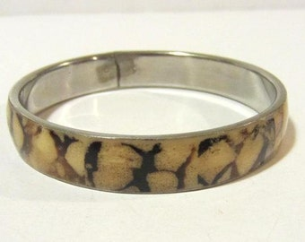 Vintage jewelry silver tone Inlaid Jasper bangle bracelet
