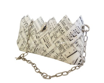 Woven Music Sheet Evening Pouch - Ivory Black Recycled Paper Clutch