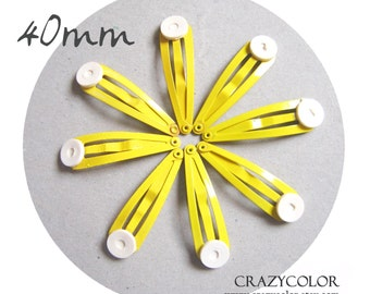 20 pcs Bright Yellow Hair Snap Clip With Flat Pad 40mm (1.6 Inch) 40P13