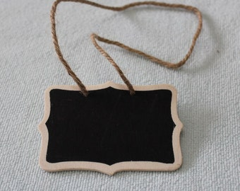 Handmade Mini Wooden Hanging Blackboard Chalkboard 6x8cm W/ String Set of 10
