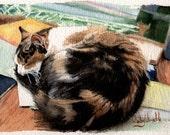 "Colorful, Vivid, Detailed Original Watercolor Painting, ""Calico Gallery Cat"", 7"" x 5"""